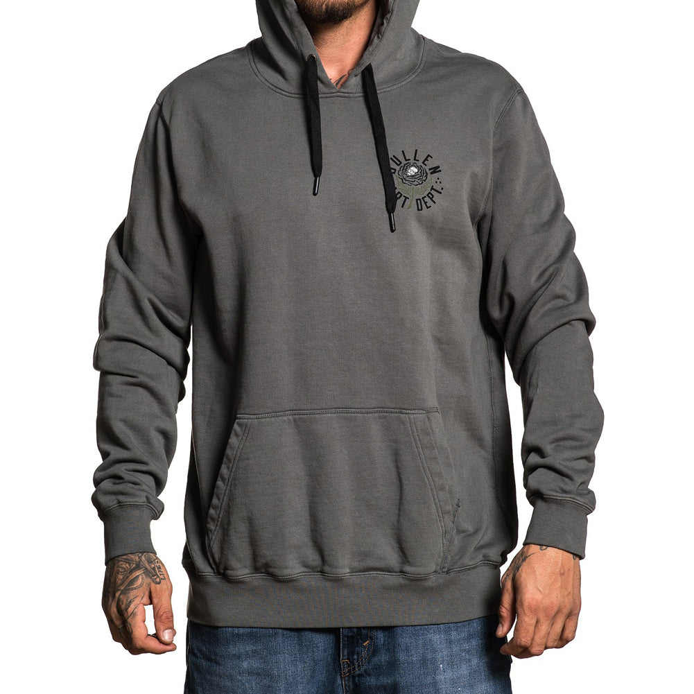 Men's Sullen Art Dept Hoodie Grey Skull Rose Tattoo Art Lifestyle Brand