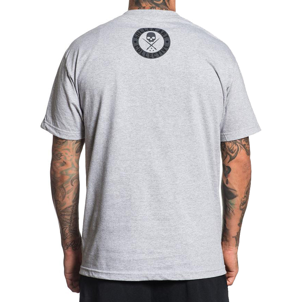Men's Sullen Everyday Badge T-Shirt Heather Grey Skull Tattoo Art Lifestyle