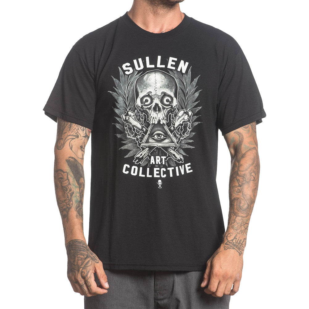 Men's Sullen Holmes Badge T-Shirt Black Skull Tattoo Art Lifestyle Brand