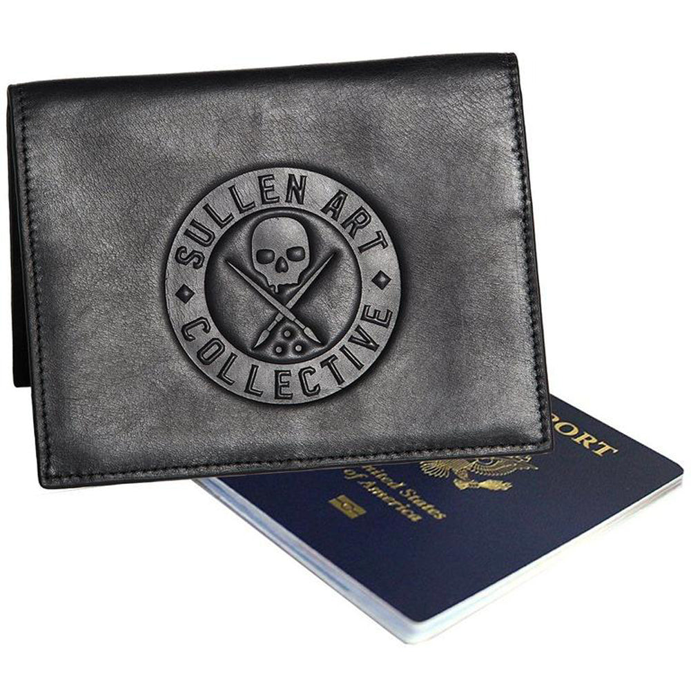 Men's Sullen Leather Passport Wallet Black Skull Logo Tattoo Art Lifestyle Brand