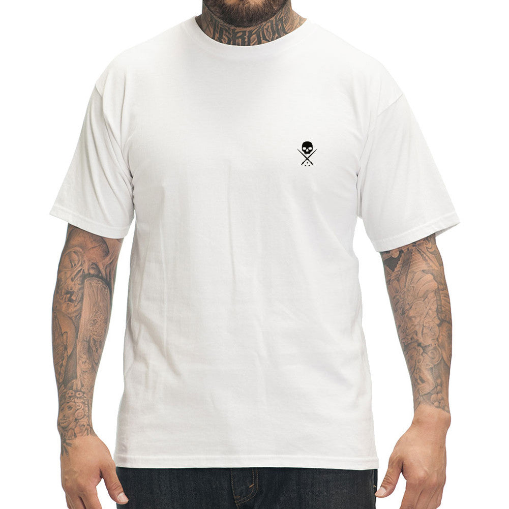 Men's Sullen Standard Issue T-Shirt White/Black Skull Logo