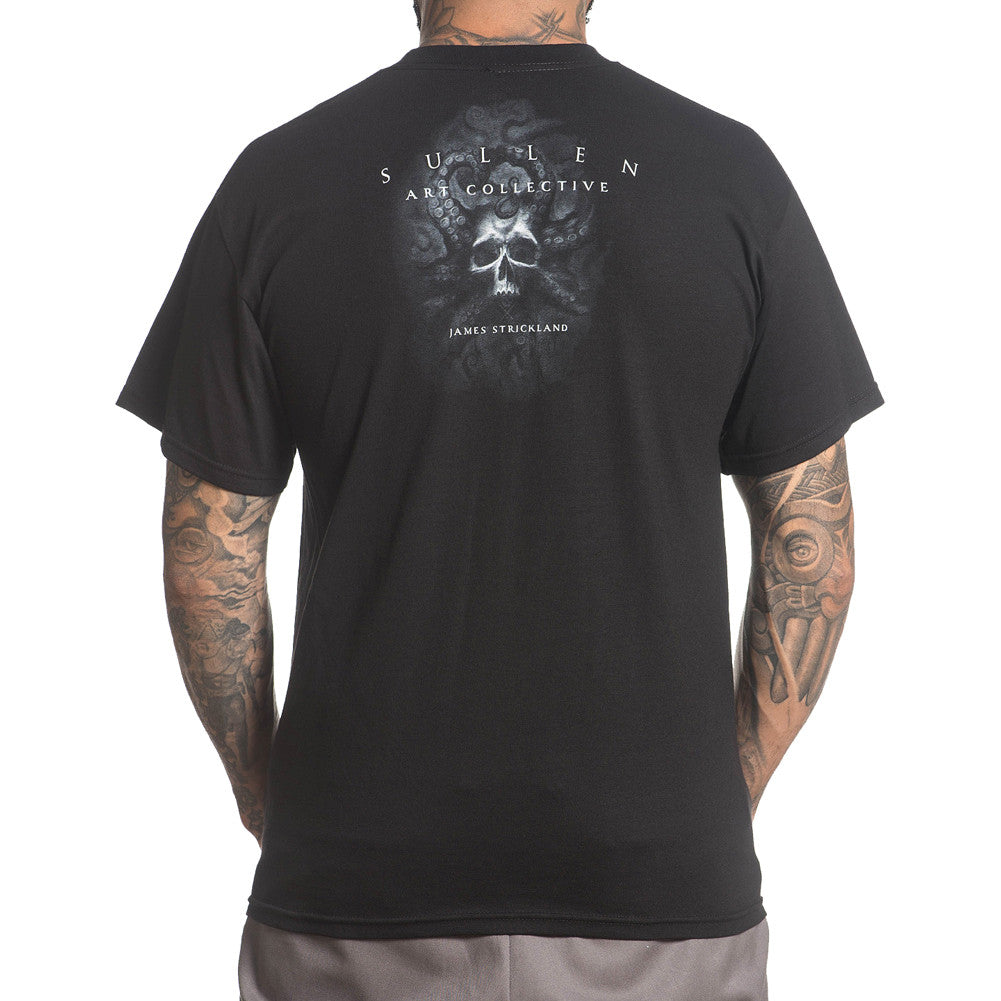 Men's Sullen The Deep T-Shirt Black Skull Octopus Nautical Tattoo Art Lifestyle