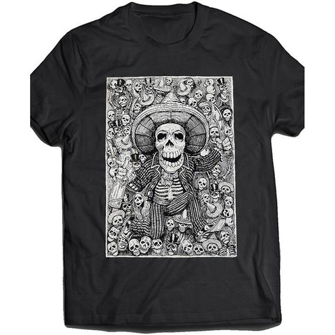 Men's Tat Daddy Life of The Party T-Shirt Day of the Dead Skeleton Sombrero