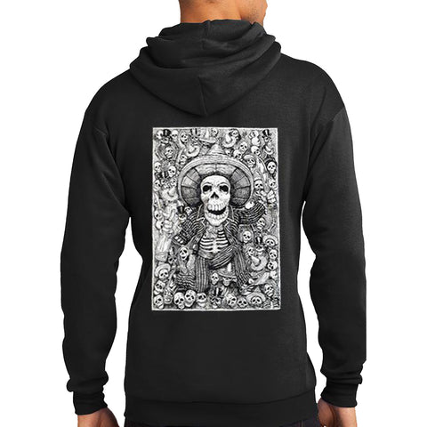 Men's Tat Daddy Life Of The Party Hoodie Black Day of the Dead Skeleton Sombrero