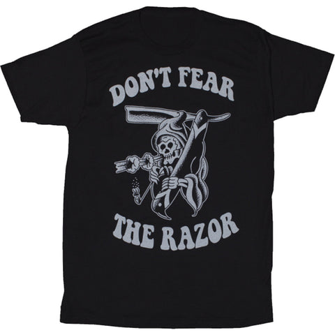 Men's Tip Top Industries Don't Fear The Razor T-Shirt Grim Reaper Barber