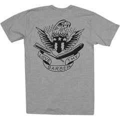 Men's Tip Top Industries Love Thy Barber T-shirt Grey Tattoo Eagle Flash