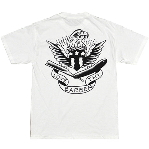 Men's Tip Top Industries Love Thy Barber T-shirt White Tattoo Eagle Flash