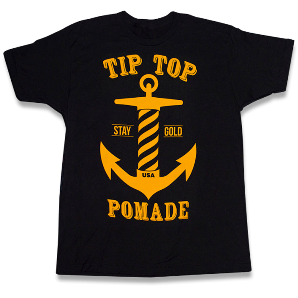 Men's Tip Top Industries Stay Gold Series Anchor T-Shirt Black Nautical Barber