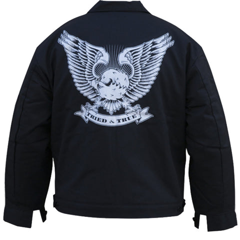 Men's Tip Top Industries Tried & True Eagle Lined Shop Jacket Black Tattoo Art