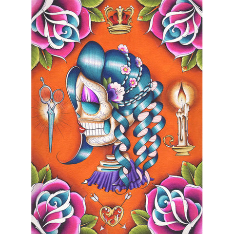 Mildred by Dave Sanchez Canvas Giclee Mexican Day of the Dead Sugar Skull