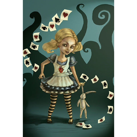 Miss Wonderland Fine Art Print by Diana Levin Alice Cards Spooky