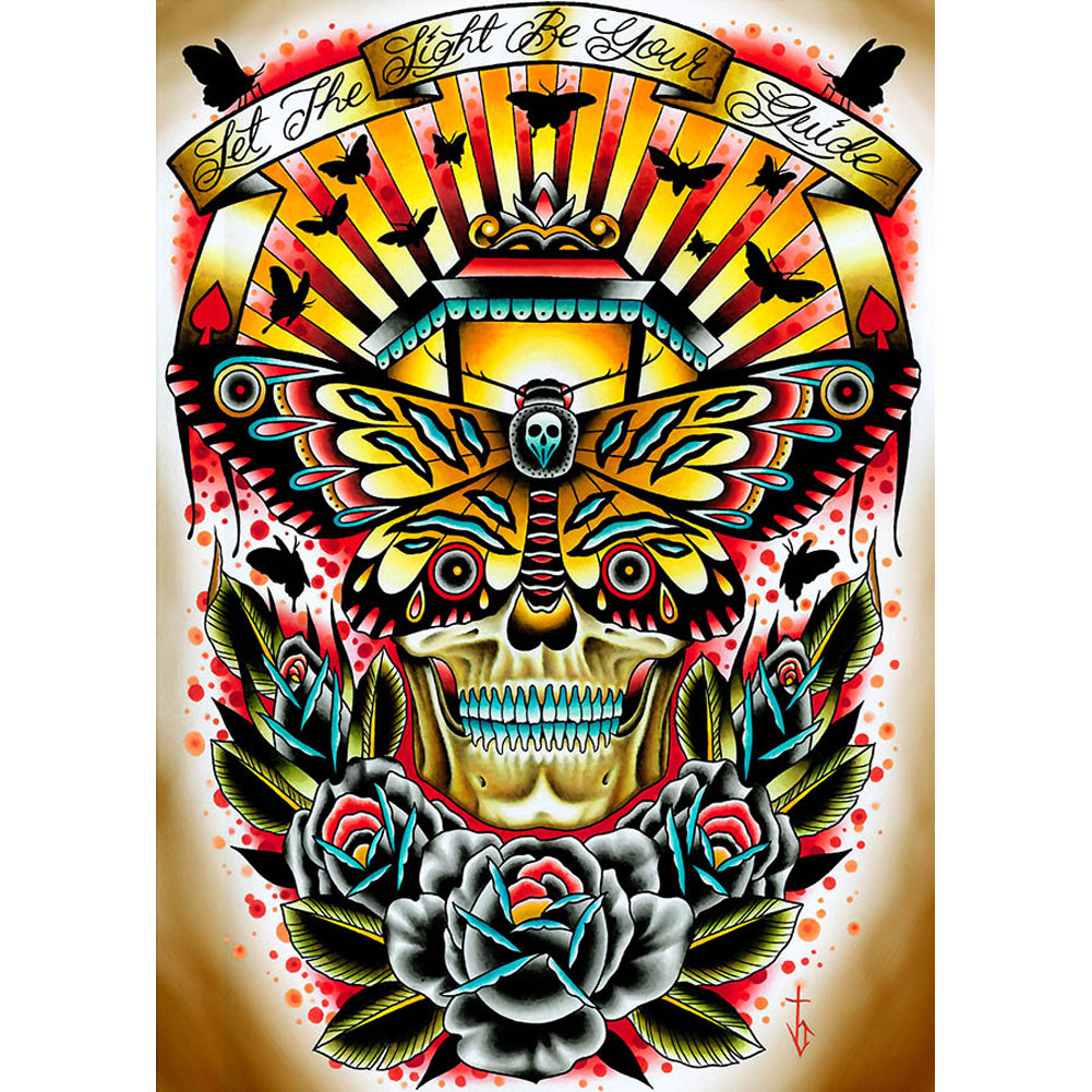 Moth by Tyler Bredeweg Canvas Giclee Traditional Tattoo Art Lantern Skull Roses