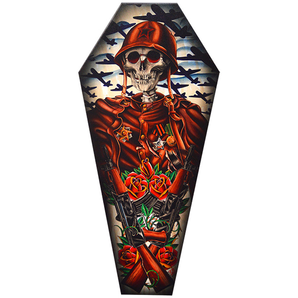 Motherland Coffin Canvas Giclee By 2 Cents Skeleton Soldier Skull Guns Roses Art