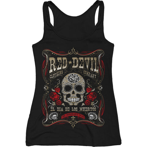 Women's Red Devil Clothing Dia De Los Muertos Tank Top Day of the Dead