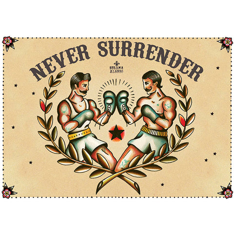 Never Surrender Canvas Giclee by Susana Alonso Traditional Tattoo Boxer