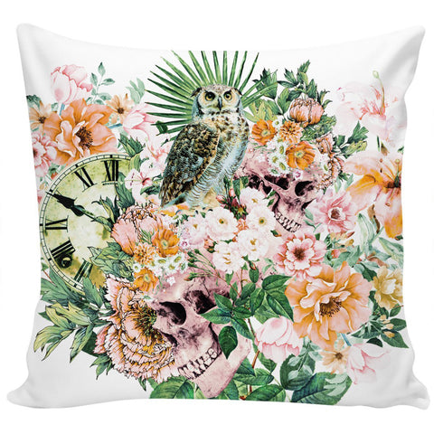 Owl with Skulls Pillow