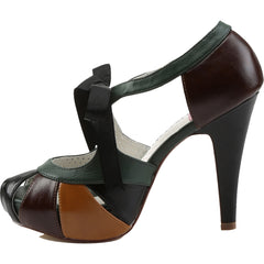 Pin Up Couture BETTIE-19 Semi Hidden Platform Sandal Black/Green Rockabilly