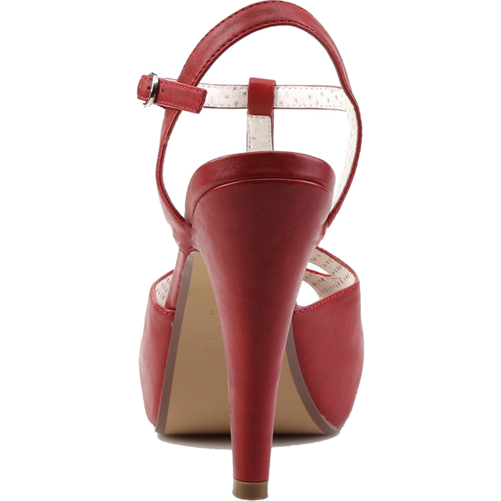 Pin Up Couture BETTIE-23 Semi-Hidden Platform T-Strap Sandal Red Rockabilly