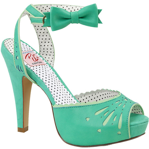 Pin Up Couture BETTIE 01 Ankle Strap Sandal Teal Vintage Retro Rockabilly