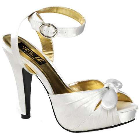 Pin Up Couture Bettie 04 Peep Toe Strap Bow Heel Ivory Retro Vintage Rockabilly