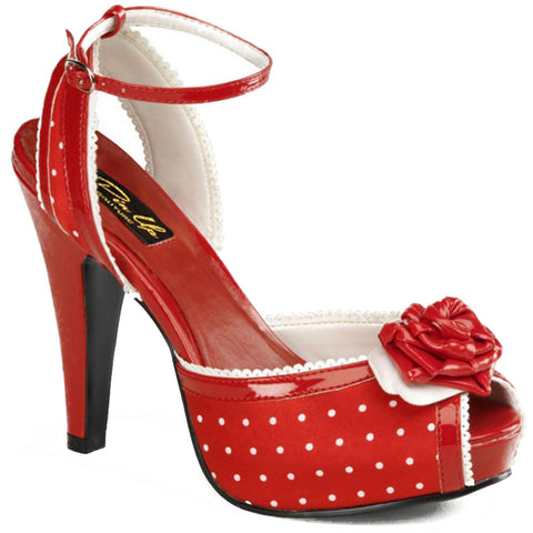 Pin Up Couture Bettie 06 Peep Toe Polka Dot Strap Heel Red Retro Rockabilly