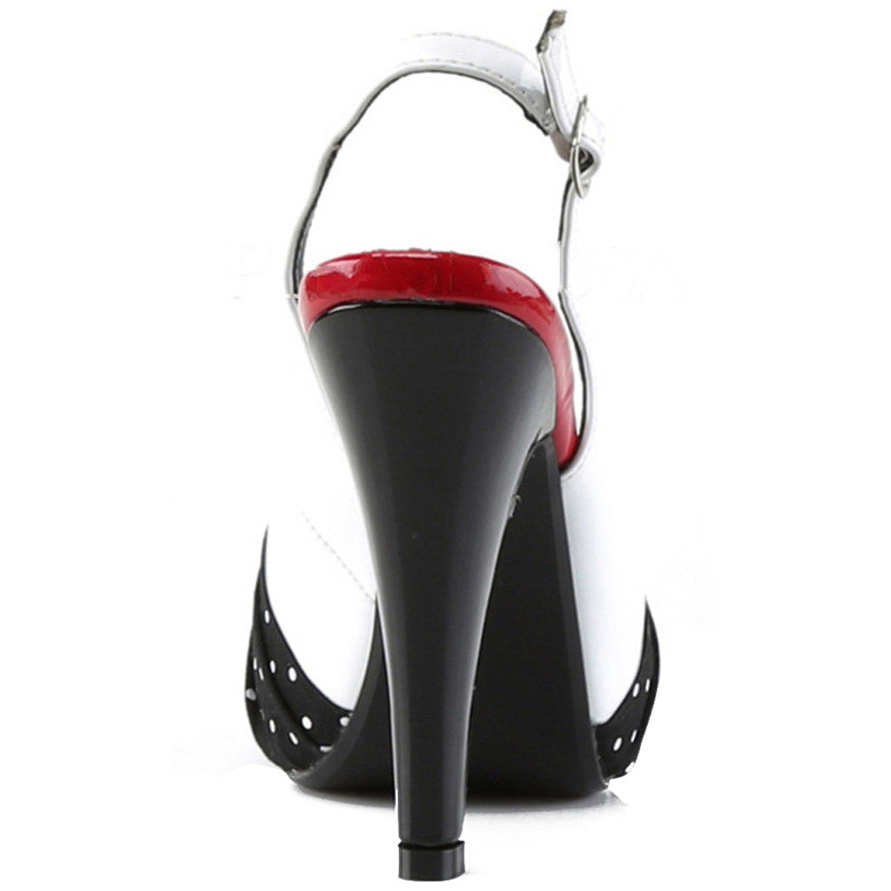 Pin Up Couture Bettie 09 Peep Toe Slingback Heel White/Black Retro Rockabilly