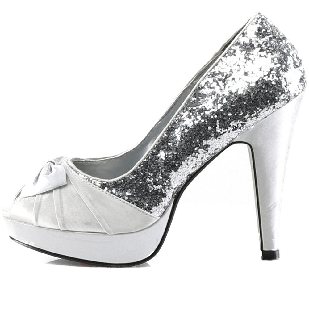 Pin Up Couture Bettie 10 Peep Toe Heel Silver Glitter Retro Vintage Rockabilly