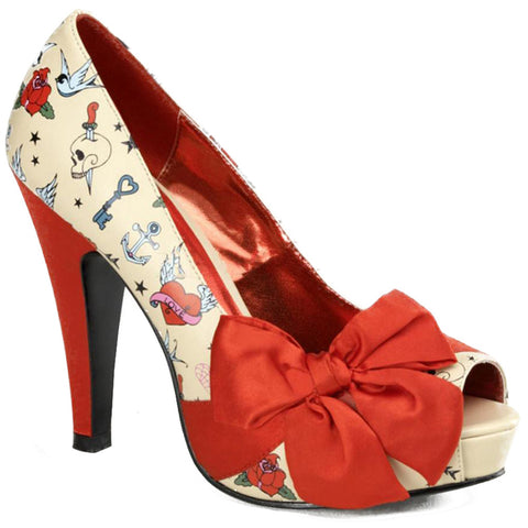 Pin Up Couture Bettie 13 Peep Toe Heel Tattoo Print Bow Retro Vintage Rockabilly