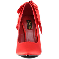 Pin Up Couture Bombshell 03 Pump Red Bow Retro Vintage Inspired Rockabilly