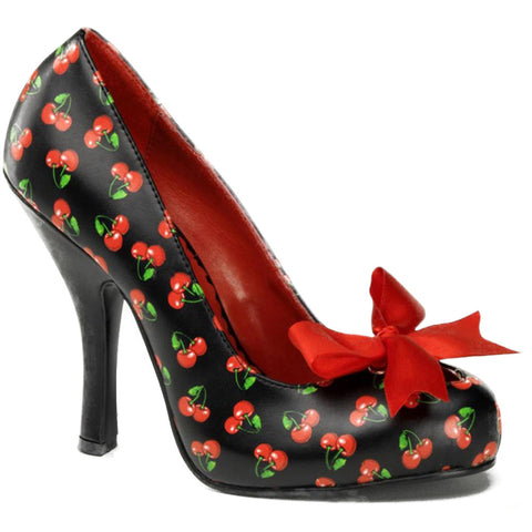Pin Up Couture Cutiepie 06 Heel Cherries Print Bow Retro Vintage Rockabilly