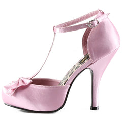 Pin Up Couture Cutiepie 12 T-Strap Heel Pink Bow Retro Vintage Rockabilly