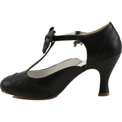 Pin Up Couture Flapper-11 Wing Tip T-Strap Pump Black Retro Vintage Rockabilly