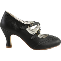 Pin Up Couture Flapper-35 Criss-Cross Mary Jane Pump Black Retro Rockabilly