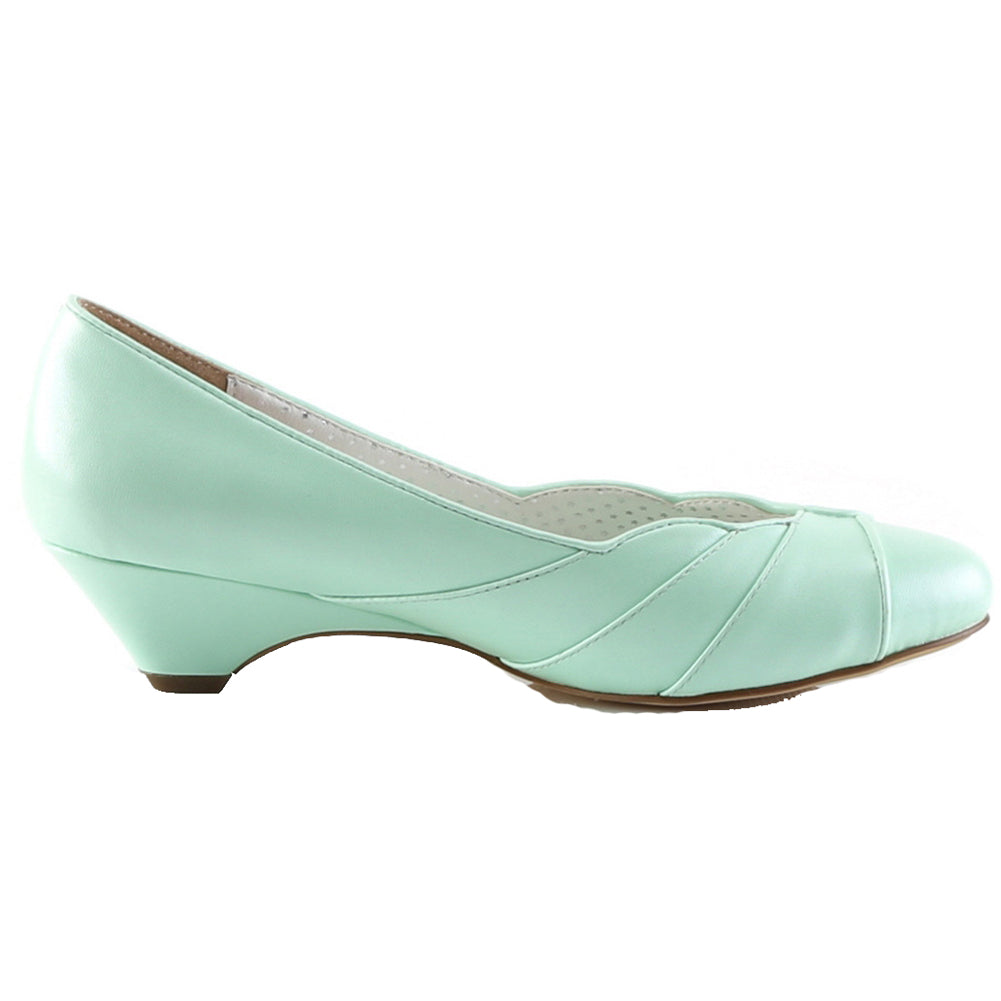 Pin Up Couture LULU-05 Kitten Wedge Pump Mint Retro Vintage Rockabilly Pin Up