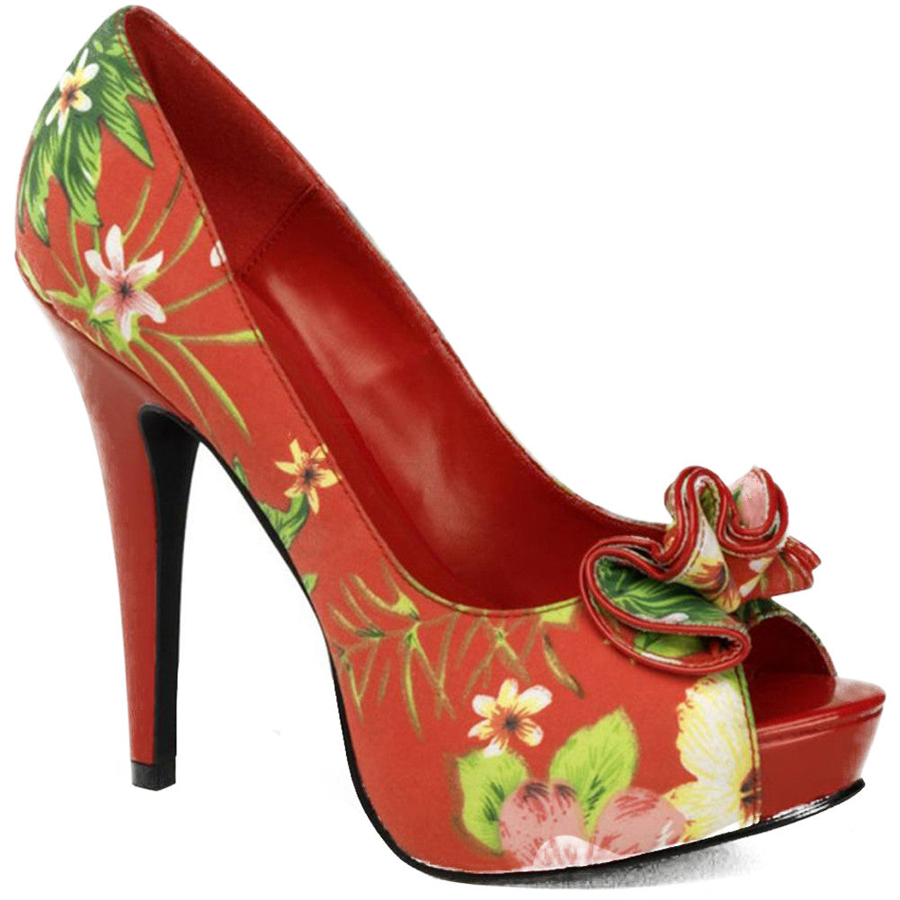 Pin Up Couture Lolita 11 Peep Toe Heel Red Floral Retro Vintage Rockabilly