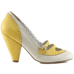 Pin Up Couture POPPY-18 Cone Heel MaryJane Spectator Pump Yellow/Cream Vintage