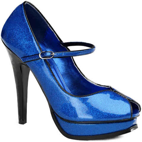 Pin Up Couture Pleasure-02G Peep Toe Strap Heel Blue Pearlized Glitter
