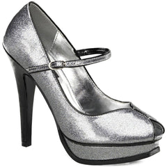 Pin Up Couture Pleasure-02G Peep Toe Strap Heel Silver Pearlized Glitter