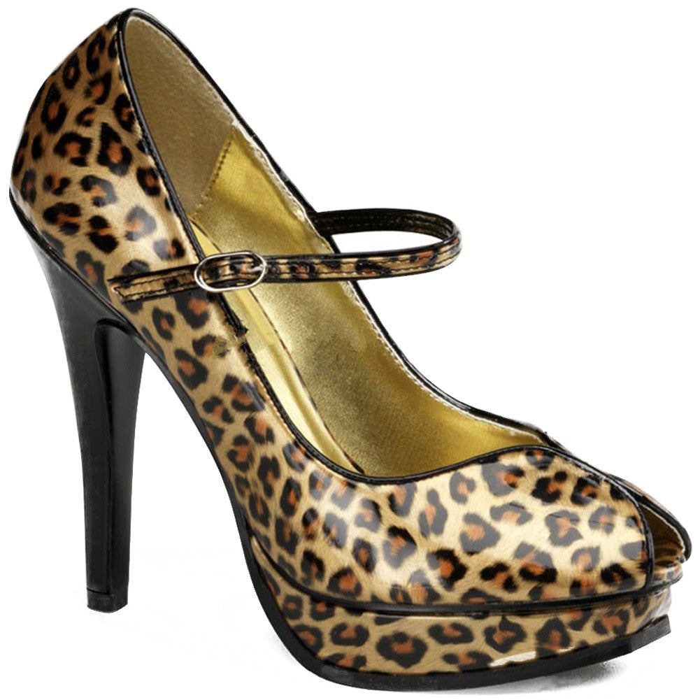 Pin Up Couture Pleasure-02 Platform Mary Jane Pump Cheetah Print Rockabilly