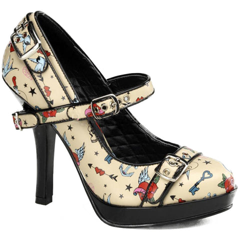Pin Up Couture Secret 14 Strap Heel Tattoo Print Flash Retro Vintage Rockabilly