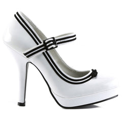 Pin Up Couture Secret 15 Strap Heel White Retro Vintage Rockabilly