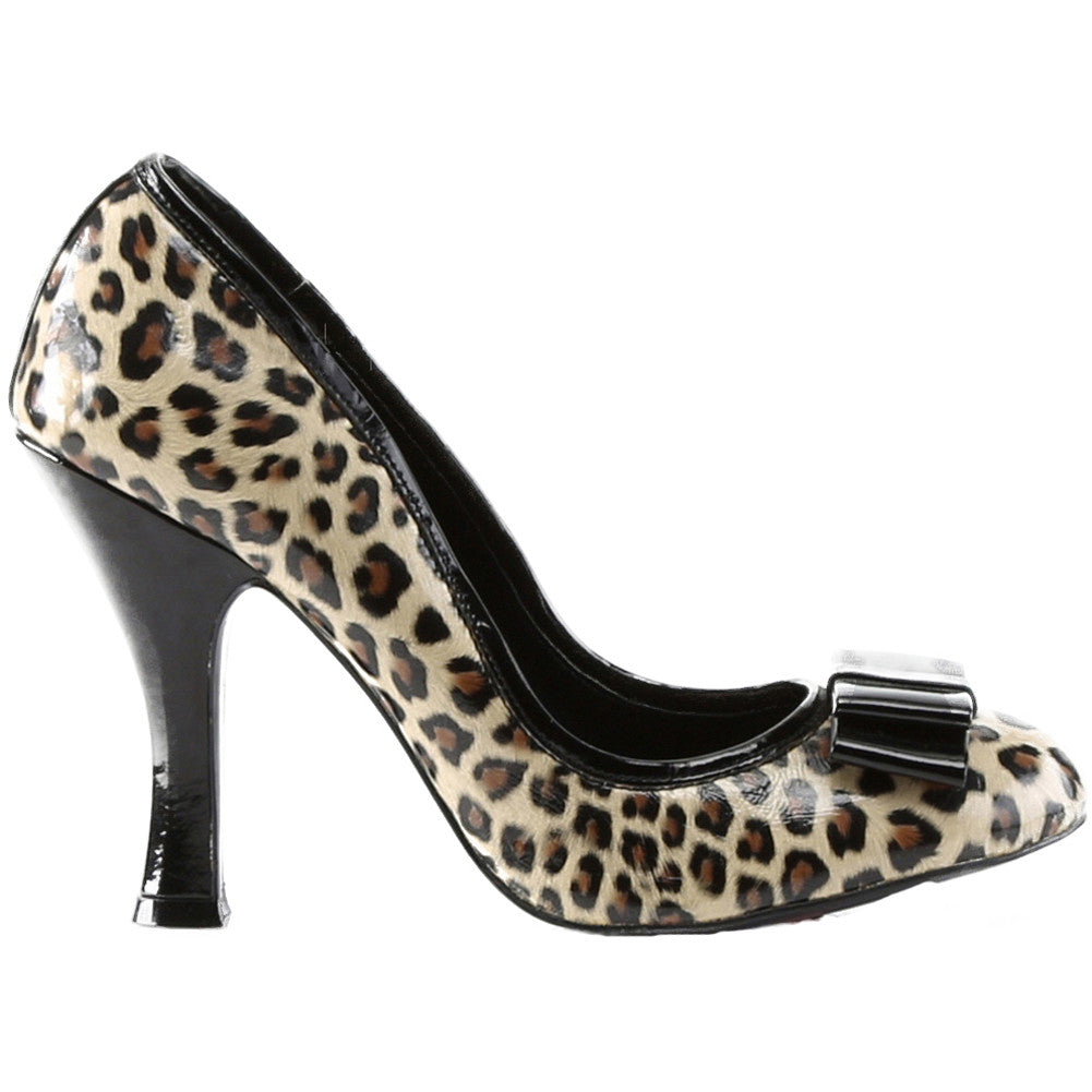 Pin Up Couture Smitten 01 Pump Cheetah/Black Bow Retro Vintage Rockabilly