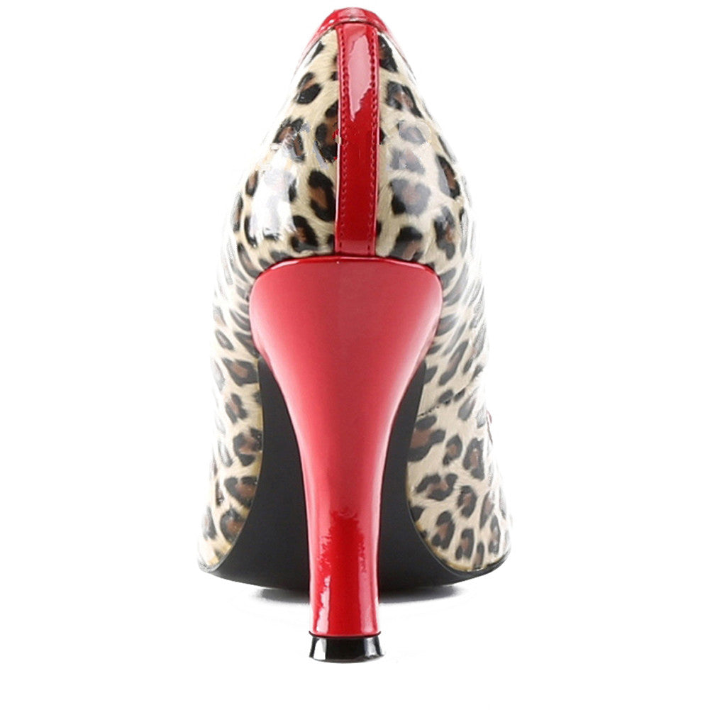 Pin Up Couture Smitten 01 Pump Cheetah/Red Bow Retro Vintage Rockabilly