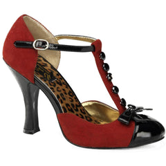 Pin Up Couture Smitten 10 T-Strap Pump Red Bow Retro Vintage Rockabilly