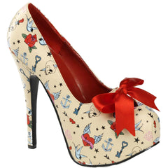 Pin Up Couture Teeze 12-3 Heel Tattoo Print Flash Bow Retro Vintage Rockabilly