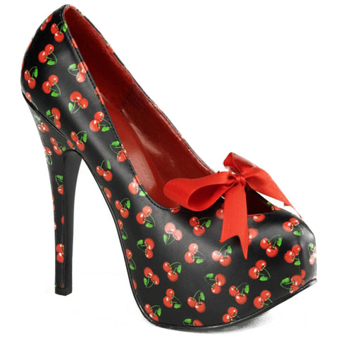 Pin Up Couture Teeze 12-6 Heel Black Cherries Print Bow Retro Vintage Rockabilly