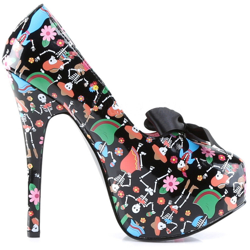 Pin Up Couture by Pleaser Teeze 12-4 Muertos Print Heel Day of the Dead