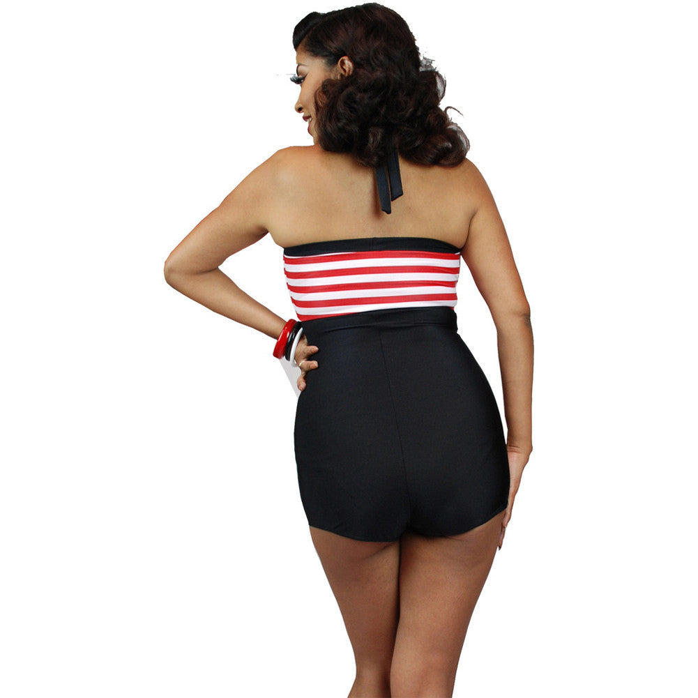 Pinky Pinups Halter One Piece Romper Swimsuit Black/Red Vintage Rockabilly Pinup