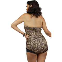 Pinky Pinups Leopard Roll Up Halter One Piece Swimsuit Vintage Rockabilly Pin Up