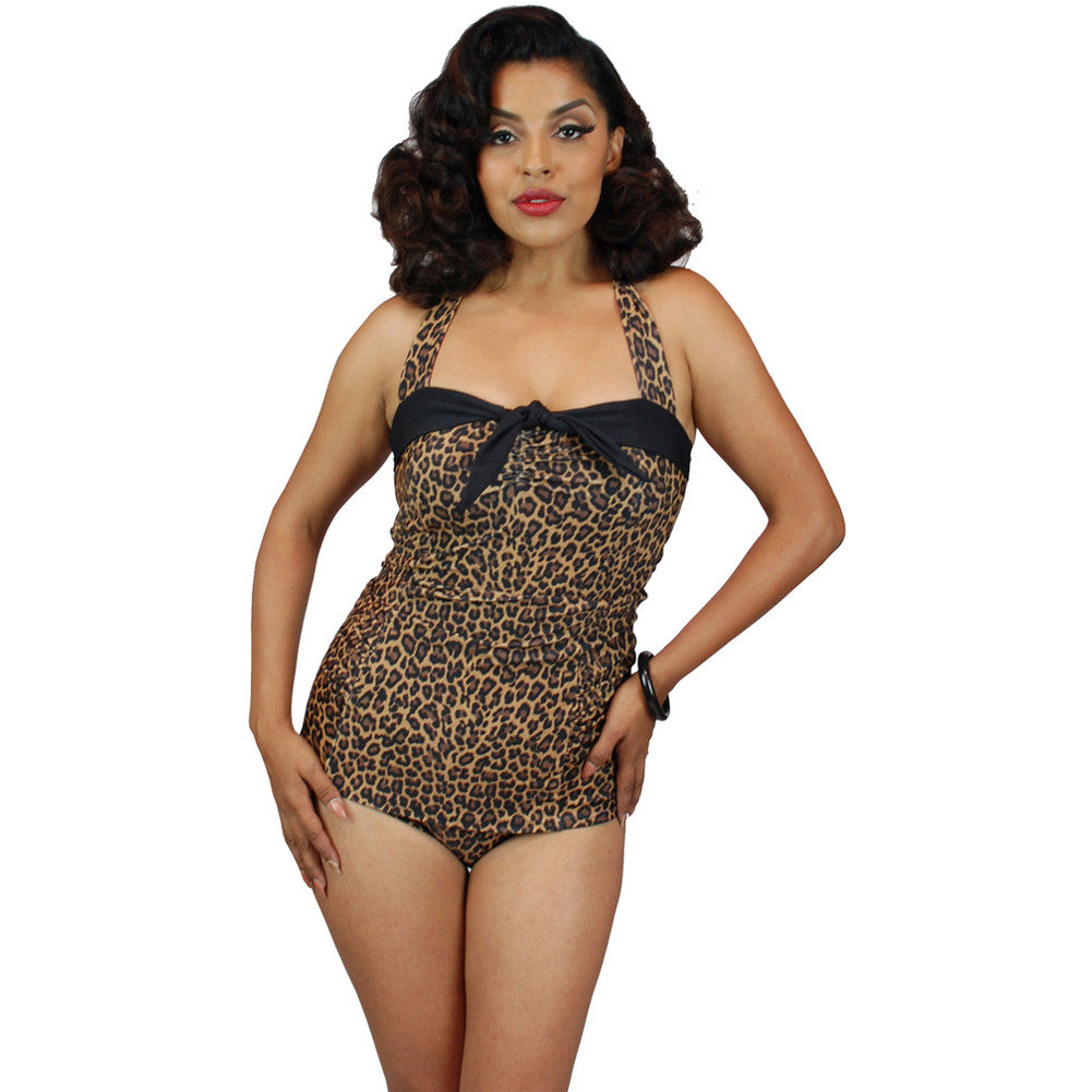 Pinky Pinups Leopard Print Front Bow One Piece Swimsuit Vintage Rockabilly Pinup